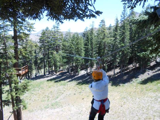 Hubby's mom...zip-lining (right before her 80th birthday)