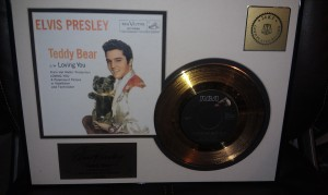 Elvis gold record of Teddy Bear given by hubby while we were dating