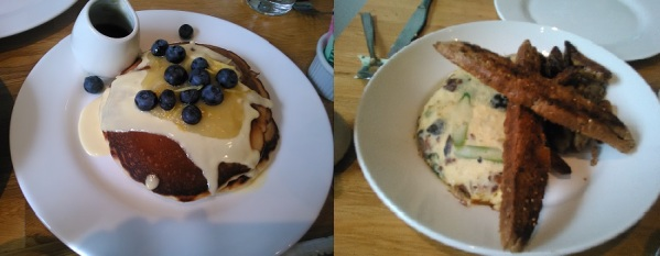 Lemon Pancakes and Asparagus, mushroom, and bacon omelet
